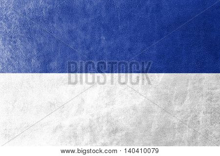 Flag Of Bochum, Germany, Painted On Leather Texture