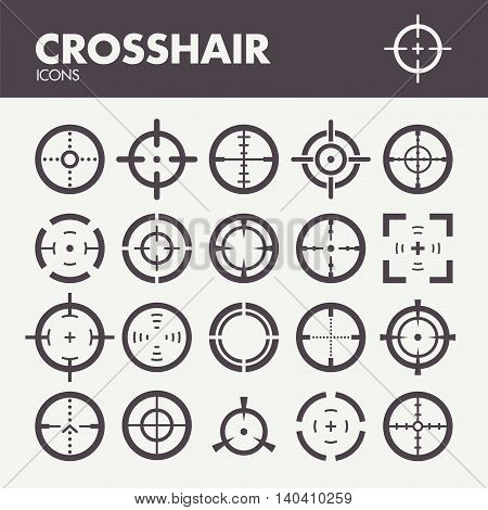 Crosshair. Icons set in vector. Target and focus symbols