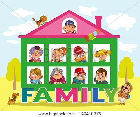 Funny cartoon. Vector illustration.House and the word family. Happy family in the windows.