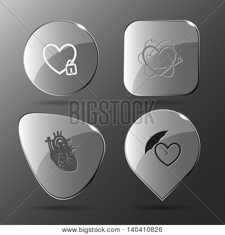 4 images: closed heart, atomic, protection love. Heart shape set. Glass buttons. Vector illustration icon.