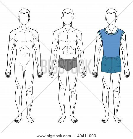 Fashion man outlined template full length front figure silhouette in jeans & brief underpants vector illustration isolated on white background