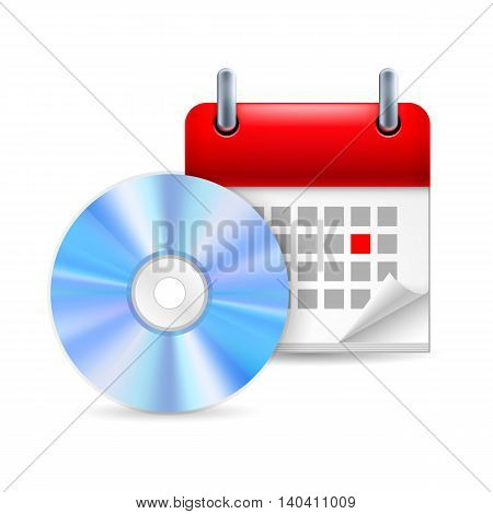 CD and calendar with marked day. Party or music event