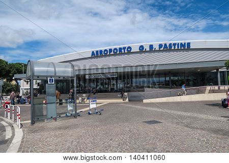 Rome Italy 17 June 2016. Ciampino airport entrance with tourists. Aeroporto G. B. Pastine is the main hub for low cost flights from or to Rome.