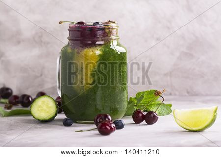 Fresh multiflavored color smoothie. Toned image. Selective focus