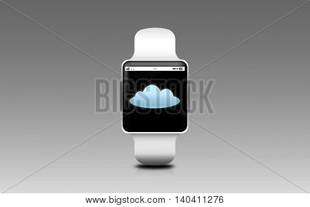 modern technology, object and computing concept - illustration of smart watch with cloud icon on screen over gray background