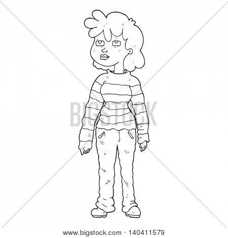 freehand drawn black and white cartoon woman in casual clothes