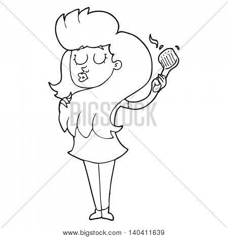 freehand drawn black and white cartoon woman brushing hair
