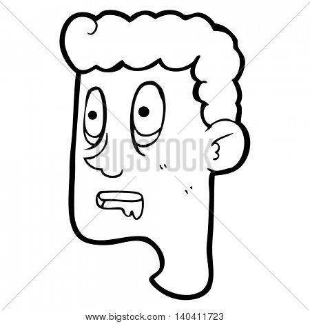 freehand drawn black and white cartoon staring man drooling