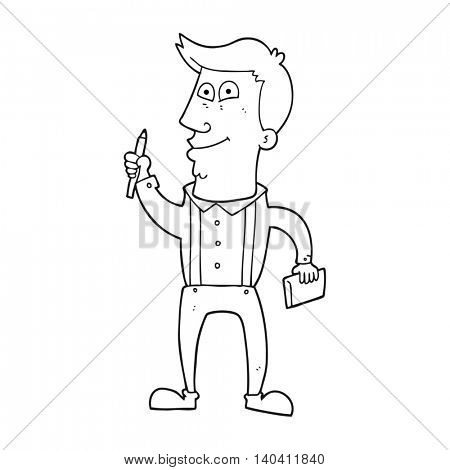 freehand drawn black and white cartoon man with notebook and pen