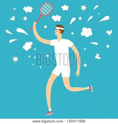 Cartoon man playing tennis. Including decorative elements such as clouds; stars; splash; birds. Healthy lifestyle illustration for your design.