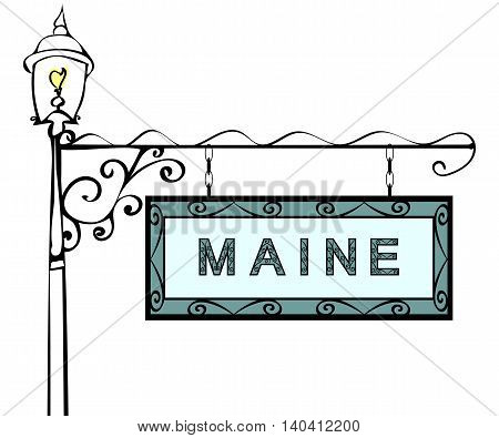 Maine retro pointer lamppost. Maine state America tourism travel.