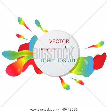 Colorful vector background with paint splashes in rainbow colors.