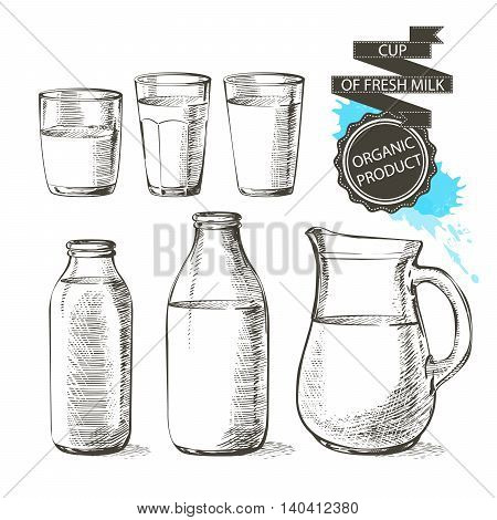 bottles and jars with fresh milk products can container for milk isolated on white background