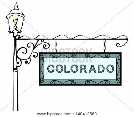 Colorado retro pointer lamppost. Colorado state America tourism travel.