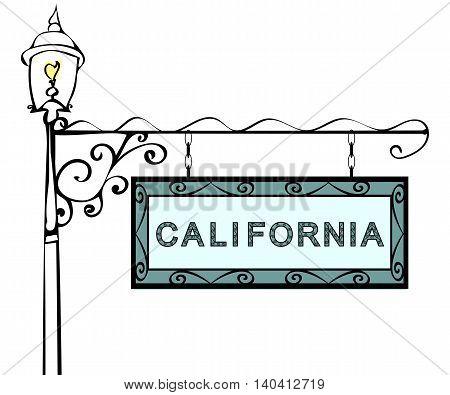 California retro pointer lamppost. California state America tourism travel.