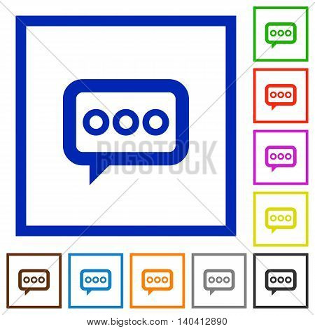 Set of color square framed Working chat flat icons