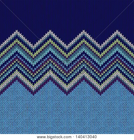 Seamless Ethnic Geometric Knitted Pattern. Style Blue White Green Violet Background