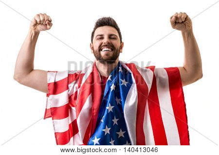 Fan celebrating and holding the flag of USA