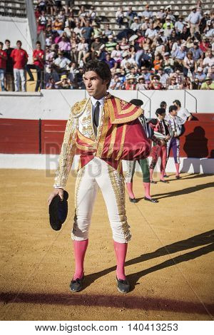 Sabiote SPAIN September 9 2011: The Spanish Bullfighter Cayetano Rivera at the paseillo or initial parade during a bullfight in the Bullring of Sabiote Spain