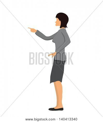 Businesswoman pointing with a finger. Vector illustration, isolated on white background.