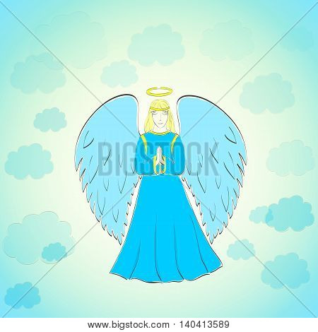 Hand Drawn Praying Angel in the Blue Sky with Light Clouds. Vector EPS 10