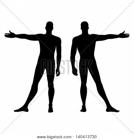 Fashion man's solid template figure silhouette (front & back view) vector illustration isolated on white background