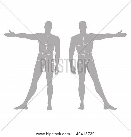 Fashion man's solid template figure silhouette (front & back view) with marked body's sizes lines vector illustration isolated on white background