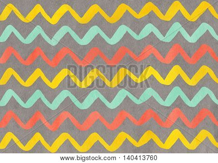 Watercolor Seafoam, Salmon And Yellow Hand Painted Stripes On Gray Background, Chevron