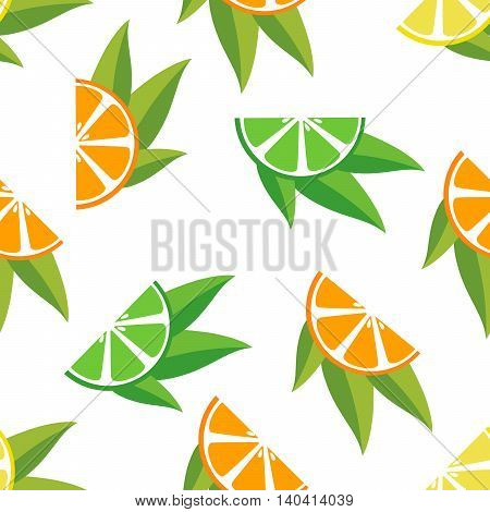 Seamless pattern with oranges lemons limes slice with leaves.