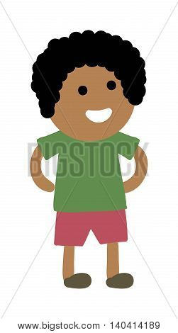 Cute young boy isolated. Small school boy stands and youth cheerful fun character. Vector character boy stands and lifestyle one beautiful stand adorable teen.