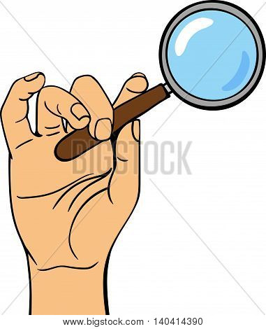 Human hand holding search web loupe pose human fingers. Human hand isolated. Silhouette of hand showing symbols finger thumb vector illustration. Web search, human sesourses