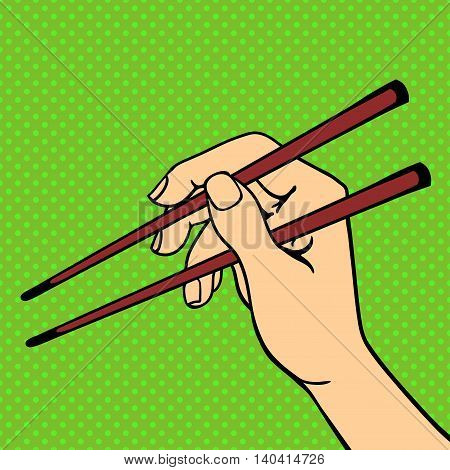 Human hand holding sushi sticks pose signal human fingers. Human hand isolated. Silhouette of hand showing symbols finger thumb vector illustration. Haman resourses