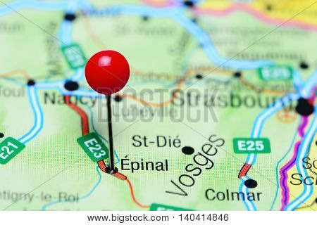 Epinal pinned on a map of France