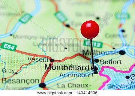Montbeliard pinned on a map of France