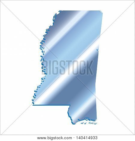 3D Mississippi (USA) Iridium Blue outline map with shadow