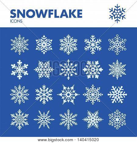 Snowflake. Icons set in vector. Snow symbols
