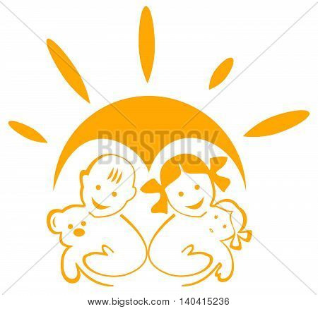 Glyph logo happy childhood. Children with toys in the background of the sun