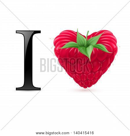 I love raspberry. Message with heart berry