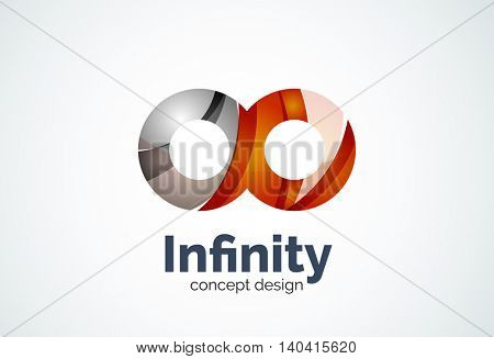 Abstract business company infinity logo template, loops concept - geometric minimal style, created with overlapping curve elements and waves. Corporate identity emblem