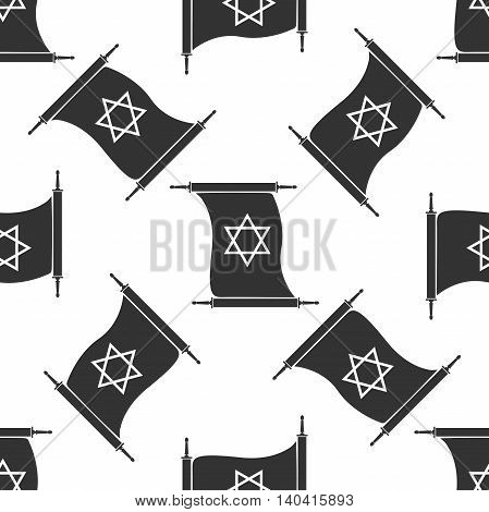 Star of David on scroll icon pattern on white background. Adobe illustrator