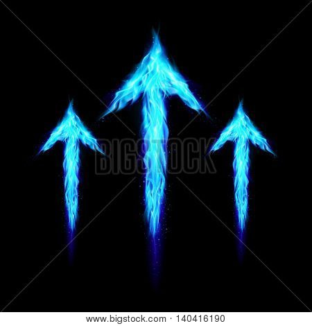 Three blue fire arrows directed upward. Illustration on black background