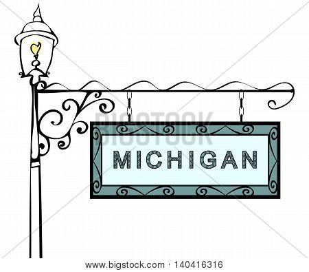 Michigan retro pointer lamppost. Michigan state America tourism travel.