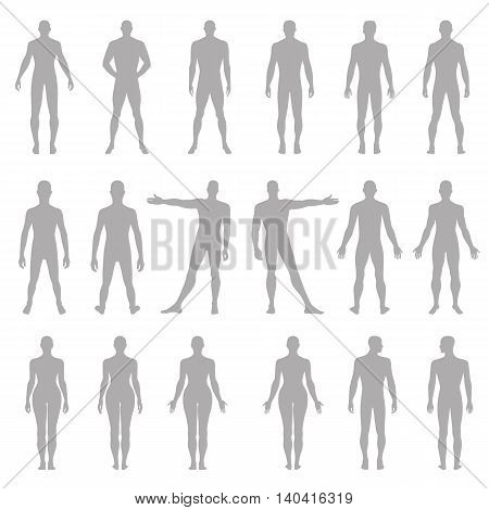 Full length front back human silhouette vector illustration isolated on white