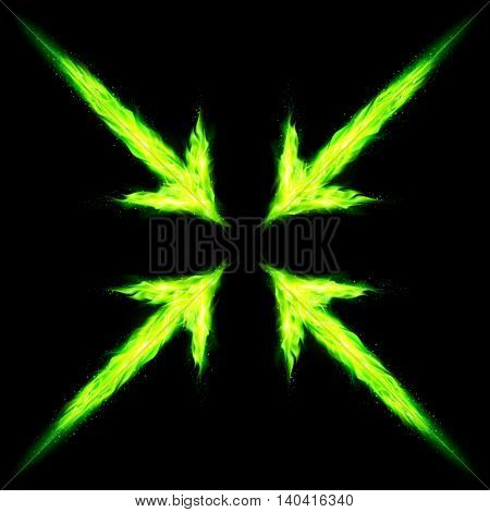 Four green fire arrows directed to the centre. Illustration on black background