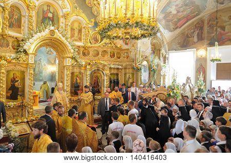 Orel Russia - July 28 2016: Russia baptism anniversary Divine Lutirgy. Sermon in Bogoyavlenskaya church in orthodox church