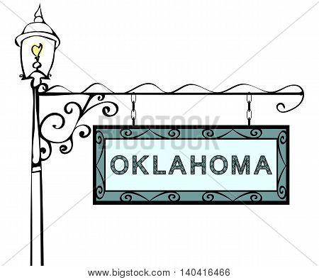 Oklahoma retro pointer lamppost. Oklahoma state America tourism travel.