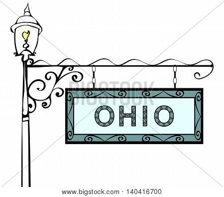 Ohio retro pointer lamppost. Ohio State America tourism travel.
