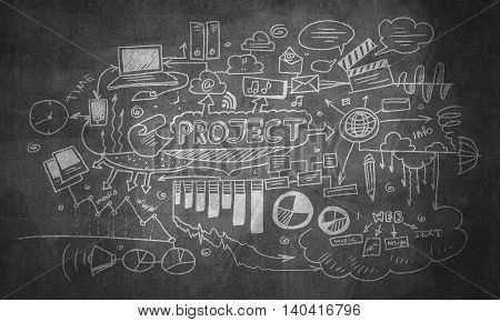 Effective business planning concept on wall blackboard background