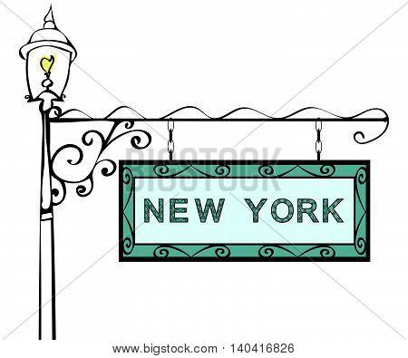 New York retro pointer lamppost. New York State America tourism travel.