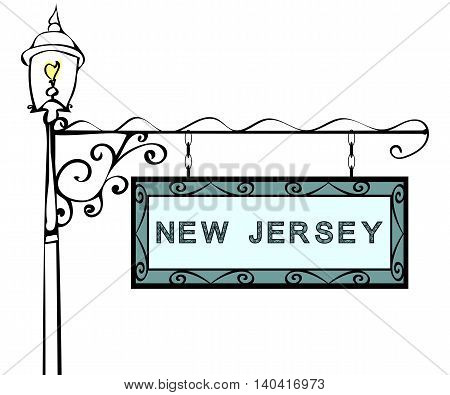 New Jersey retro pointer lamppost. New Jersey State America tourism travel.